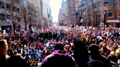 Reverend Dr. William Barber II addresses the crowd at the Moral March on Raleigh, February 11, 2017. Video still from Kenneth Campbell's Millennials of the Moral Movement: Prelude