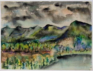 """Black Mountain, Lake Eden"" (1954), by Joseph Fiore. © Estate of Joseph Fiore. Courtesy the Asheville Art Museum"