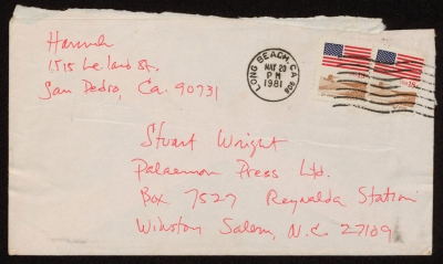 An envelope from Barry Hannah in California. © The Stuart Wright Collection, East Carolina University.