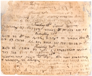 A page from William Thomas Prestwood's diary, March 1808. Courtesy of the Special Collections Research Center, North Carolina State University Libraries