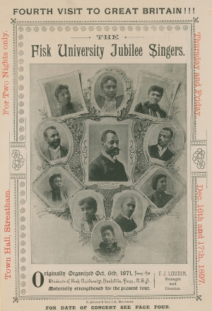 Advertisement for an appearance of the Fisk University Jubilee Singers by an unknown English photographer © Look and Learn/Peter Jackson Collection/The Bridgeman Art Library